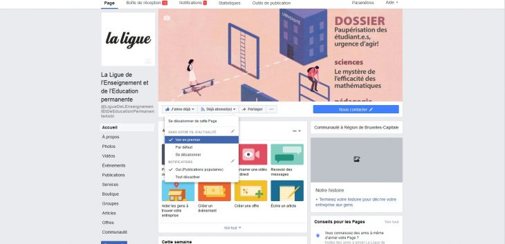 Facebook et la Ligue de l'Enseignement